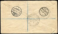 "Lot 1689 [2 of 2]:1894 (Dec 8) registered cover to Germany with attractive tri-colour franking of 1d, 2d & 2½d Sidefaces tied by Pungarehu '6DE94' datestamps, mss ""Registered/n.46"" marking, on reverse Wellington & Auckland transits & Kiel arrival datestamp."