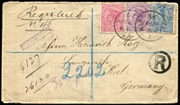 "Lot 1689 [1 of 2]:1894 (Dec 8) registered cover to Germany with attractive tri-colour franking of 1d, 2d & 2½d Sidefaces tied by Pungarehu '6DE94' datestamps, mss ""Registered/n.46"" marking, on reverse Wellington & Auckland transits & Kiel arrival datestamp."