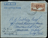 Lot 457 [3 of 5]:1907-83 Postal History Array including 1938(?) Consulate cover to Switzerland endorsed 'via AUSTRALIA/ITALY' with 2/6d Arms & 1/- Bird, 1950 to England with 2/6d Arms solo, 1951 Air Letter to England with 6d University, 1951 Air Letter to England RTS with multiple backstamps, 1951 Brunnerton registered to England at 1/7d rate, etc; mixed condition. (16)