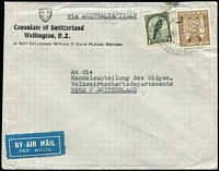Lot 457 [1 of 5]:1907-83 Postal History Array including 1938(?) Consulate cover to Switzerland endorsed 'via AUSTRALIA/ITALY' with 2/6d Arms & 1/- Bird, 1950 to England with 2/6d Arms solo, 1951 Air Letter to England with 6d University, 1951 Air Letter to England RTS with multiple backstamps, 1951 Brunnerton registered to England at 1/7d rate, etc; mixed condition. (16)
