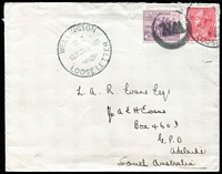 "Lot 1602:1933 (Oct 16) RMS Maunganui envelope to Adelaide with KGV 1d Admiral plus USA 3c tied by Wellington Loose Letter '16OC33' datestamp & 'W.N.' circular handstamp, on reverse mss notation ""Thanks for last/letter rec'd/at Raratonga"", few blemishes."