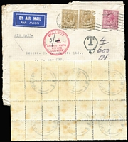 Lot 1603 [2 of 2]:1935 (Aug 22) incoming airmail cover front from UK with 2/6d franking, taxed at double deficiency with 2d Due upper-right corner block of 30 (with sheet number) paying the 5/- fine, age spotting on cover & back of stamps.