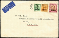 Lot 1605:1951(?) cover to National Research Council Laboratories in Ottawa, Canada with optd 'Official' KGVI 1d, 2d & 1/- tied by Lower Hutt datestamps, unsealed flap. Scarce use of officials on commercial cover.