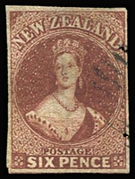 Lot 1586 [1 of 2]:1862-64 Imperf Chalons Wmk Large Star 6d black-brown SG #41, three very good margins, just shaved at top & 6d red-brown SG #43 complete margins, lightly cancelled, Cat £240. (2)