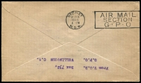 Lot 1589 [2 of 2]:1934 7d Trans-Tasman Air SG #554 tied to cover by Wellington '17JA34' FD cancel then flown to Australia by Charles Ulm in the 'Faith of Australia' aircraft. Special flight envelope with flight cachet in violet, Auckland '17FE34' departure datestamp. Very fine.