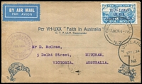 Lot 1962 [1 of 2]:1934 7d Trans-Tasman Air SG #554 tied to cover by Wellington '17JA34' FD cancel then flown to Australia by Charles Ulm in the 'Faith of Australia' aircraft. Special flight envelope with flight cachet in violet, Auckland '17FE34' departure datestamp. Very fine.