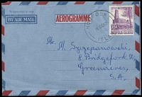 Lot 1397:1953 10d Salt House tied to formular aerogramme by Norfolk Island '15DE60' datestamp. Fine condition.