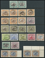 Lot 382 [3 of 3]:1901-1930s Accumulation with Lakatois 1901-05 BNG to 6d Wmk Horizontal, Small 'PAPUA' to 6d, Large 'PAPUA' to 1/-, Bi-Colours to 1/- including 1½d 'POSTACE' & 1½d 'Rift x2, Pictorials to 1/-, etc; also PNG pre-decimals with 10/- Map & £1 Fisherman; some heavy duplication of lower values, condition variable. (170 approx)
