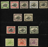 Lot 416:1907-15 Officials 'OS' Perfin Selection on Lakatois to 2½d, 4d x2 & 6d x2, postally used & generally fine. (13)