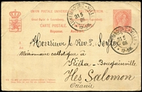 Lot 1079:1905 (May 31) inwards 10c Postal Card from Luxembourg to a Catholic Missionary in Kieta, Bougainville with message on reverse in French, corner crease otherwise fine. Rare survivor.