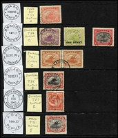 Lot 1423 [2 of 6]:Datestamp Selection: including Lee [Rated E] Bwagaoia Type 87 in violet x2, [Rated D] Daru Type 45 & Hisiu Type 92, plus some fine strikes of lesser-rated cancels; also Port Moresby Type 7 'BNG'-in-bars used on Queensland Sidefaces 1d & 3d, Samarai Type 26 two-line 'REGISTERED/SAMARAI B.N.G' handstamp (Rated D), plus a few military cancels and used in Australia; some mild duplication. (60) RO c.1893; PO c.1894; closed 14/2/1942.