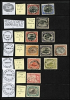 Lot 1423 [3 of 6]:Datestamp Selection: including Lee [Rated E] Bwagaoia Type 87 in violet x2, [Rated D] Daru Type 45 & Hisiu Type 92, plus some fine strikes of lesser-rated cancels; also Port Moresby Type 7 'BNG'-in-bars used on Queensland Sidefaces 1d & 3d, Samarai Type 26 two-line 'REGISTERED/SAMARAI B.N.G' handstamp (Rated D), plus a few military cancels and used in Australia; some mild duplication. (60) RO c.1893; PO c.1894; closed 14/2/1942.