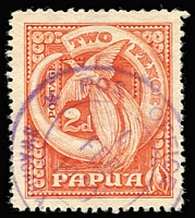 Lot 1423 [1 of 6]:Datestamp Selection: including Lee [Rated E] Bwagaoia Type 87 in violet x2, [Rated D] Daru Type 45 & Hisiu Type 92, plus some fine strikes of lesser-rated cancels; also Port Moresby Type 7 'BNG'-in-bars used on Queensland Sidefaces 1d & 3d, Samarai Type 26 two-line 'REGISTERED/SAMARAI B.N.G' handstamp (Rated D), plus a few military cancels and used in Australia; some mild duplication. (60) RO c.1893; PO c.1894; closed 14/2/1942.