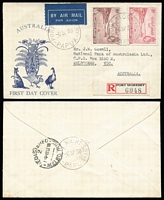 Lot 956 [2 of 3]:1938 Declaration of British Possession 2d to 1/- set SG #158-62, tied by Port Moresby '6SP38' FD cancels to three matching registered Alex Kufner generic 'Fauna' FDCs, typed addresses. Possibly unique. (3)