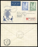 Lot 956 [3 of 3]:1938 Declaration of British Possession 2d to 1/- set SG #158-62, tied by Port Moresby '6SP38' FD cancels to three matching registered Alex Kufner generic 'Fauna' FDCs, typed addresses. Possibly unique. (3)