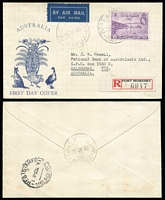 Lot 956 [1 of 3]:1938 Declaration of British Possession 2d to 1/- set SG #158-62, tied by Port Moresby '6SP38' FD cancels to three matching registered Alex Kufner generic 'Fauna' FDCs, typed addresses. Possibly unique. (3)