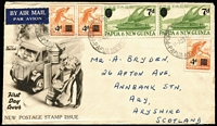 Lot 1375:1957 Surcharges Set SG #16-17 pairs + additional 4d tied by Port Moresby '29JA57' FD datestamp to Wide World FDC with generic cachet, bumped edges but likely unique.