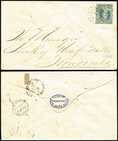 Lot 1028 [2 of 4]:1862-71 Cover Group comprising 1863 Ipswich to England with 2d Chalons x3 (aged), 1864 Maryborough to Sydney with 6d yellow-green Chalon with Rays '96' cancel, fine Ship-Letter/Sydney backstamp, 1869 Warwick to Toowoomba bank cover with 2d Chalon tied by Rays '81' cancel, 1871 Cambooya 1d town-letter rate plus another undated Cambooya town-letter (major faults). (5)