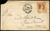 Lot 1028 [3 of 4]:1862-71 Cover Group comprising 1863 Ipswich to England with 2d Chalons x3 (aged), 1864 Maryborough to Sydney with 6d yellow-green Chalon with Rays '96' cancel, fine Ship-Letter/Sydney backstamp, 1869 Warwick to Toowoomba bank cover with 2d Chalon tied by Rays '81' cancel, 1871 Cambooya 1d town-letter rate plus another undated Cambooya town-letter (major faults). (5)