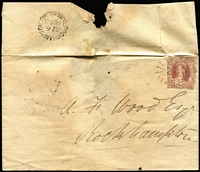 Lot 1030:1863 (Jun 6) outer with imperf 1d carmine-rose SG #1 (edge faults, fragment of adjoining stamp at right) tied by Rays '201' cancel, fine strike of 'ROCKHAMPTON/JU6/1863/QUEENSLAND' datestamp of reverse. Rare use of 1d imperf to pay town-letter rate.