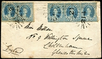 Lot 1031 [1 of 2]:1863 (Dec 14) 10d rate cover via Marseilles to England with 2d Chalons strip of 3 (one unit defective) and pair tied by Rays '214' cancels, on reverse Toowoomba, Brisbane transits and Cheltenham arrival datestamp, section of backflap missing.