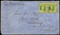 Lot 1032 [1 of 2]:1865 (May 18) cover from Ipswich to England with 6d yellow-green Chalon SG #27 pair tied by Rays '87' cancel, overpaying (by 2d) the 10d ship-letter rate via Marseilles, on reverse Ipswich & Brisbane transits and Sedbury arrival backstamp. Desirable cover.