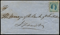 Lot 1164 [1 of 2]:1867 (Jan 19) cover from Gundiwindi to Bank of Australasia Ipswich with 2d Chalon tied by Rays '74' cancel (Rated 2R) on reverse Gundiwindi (Type 1a Rated 5R) & Toowoomba (datelines inverted) transits and Ipswich arrival backstamp.