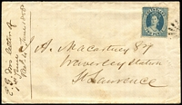 Lot 1034 [1 of 2]:1868 (Jun 1) Macartney cover to Waverley Station with 2d Chalon lightly cancelled, Rockhampton (Jun 1) departure & Marlborough (Jun 2) transit backstamps, addressee's manuscript acknowledgement of arrival (Jun 4) on face.