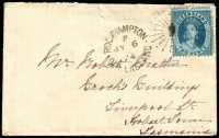 Lot 780 [1 of 2]:1874 (Jul 6) intercolonial petite cover from Rockhampton to Hobart Town with 2d Chalon tied by indistinct rays cancel with fine 'ROCKHAMPTON/JY6/74' datestamp alongside, on reverse fine Brisbane transit & Hobart Town arrival datestamps, couple of tears on upper edge, otherwise fine.
