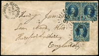 Lot 960 [1 of 2]:1875 (Apr 24) small cover to England with 2d Chalons x3 tied by Rays '96' cancels paying ½oz ship-letter rate via Southampton, fine strike of Maryborough Type 1b (code 3) datestamp (Rated 3R) at upper-left, on reverse Brisbane transit & Ross, Herefordshire arrival datestamp.