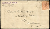 Lot 1042 [1 of 2]:1892 (Jul 2) cover to Scotland endorsed 'CIRCULAR ONLY' with 1d Sideface tied by Bars '165' cancel and Charters Towers Type 3c(i) (code 4) datestamp, small edge tear. Scarce printed matter rate.