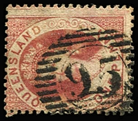 Lot 1108 [1 of 5]:Miscellany: including 'NSW'-in concentric ovals (ship mail) on Chalons x4, used abroad, Late Fee & Loose Ship Letter cancels, array of Brisbane datestamps, 'Q.L.' & 'GPO'-in rays types, range of numerals with complete strikes on multiples on piece, etc; interesting lot, worthy of closer inspection. (few 100s)