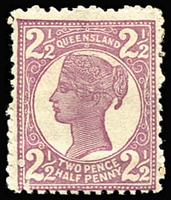 Lot 1023 [1 of 3]:1897-1908 4-Corners Wmk 2nd Crown/Q Perf 12½,13 2½d perforated Plate Proofs in blue, mauve or brownish-blue/blue on gummed watermarked paper, the latter close to the issued colour. (3)
