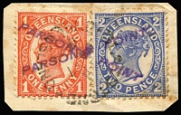 Lot 1045:Parsons Point: 'PARSON'S POINT' complete single-line handstamps x2 (crossed) in violet on 1d & 2d Sidefaces tied to small piece by indistinct datestamp.  RO c.1895; PO 1/7/1927; closed 6/9/1965.