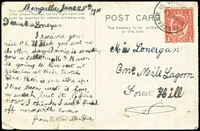"Lot 1046 [1 of 4]:Receiving Offices: comprising [1] PPC (humorous 'Bank of Old Good Times' illustration) headed ""Bengalla June 28th 1910"" with 1d Sideface tied by 'TPO7 S&WR/DOWN/30JE10' datestamp, addessed to One Mile Lagoon, Forest Hill; [2] undated PPC (view 'Upper Brisbane River') from Brisbane to Buaraba Station, via Gatton. (2)"