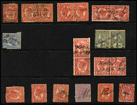 "Lot 1143 [2 of 2]:Receiving Offices: manuscript markings on Sideface single stamps or pairs including ""Baree/30-12-07"", Cania ""14-4-1902"" & ""9/8/04"" on a 1d separated pair or pair, ""Duingal/12-10-10"" on pair, ""Mt Larcom/22-3-06"", ""Norton/27.7.04"" on pair, Woolga ""1-4-09"" on pair & ""22-6-1910"" on separated pair; plus a few partial manuscript markings on single stamps and a complete 'PARSON'S POINT' handstamp in violet on ½d green pair. (15 items)"