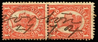 "Lot 1143 [1 of 2]:Receiving Offices: manuscript markings on Sideface single stamps or pairs including ""Baree/30-12-07"", Cania ""14-4-1902"" & ""9/8/04"" on a 1d separated pair or pair, ""Duingal/12-10-10"" on pair, ""Mt Larcom/22-3-06"", ""Norton/27.7.04"" on pair, Woolga ""1-4-09"" on pair & ""22-6-1910"" on separated pair; plus a few partial manuscript markings on single stamps and a complete 'PARSON'S POINT' handstamp in violet on ½d green pair. (15 items)"