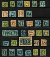 Lot 1110 [2 of 2]:Numeral Cancels on Chalons comprising Rated 3R '37', '38', '41', '81' (Type 1e), '114', '133' (Type 1e), '140', Rated 2R '14', '15', '29' x2 (Types 1b & 1f), '31', '42', '47' (on 6d pair), '48', '58', '74', '85' (Type 1e), '86' (on 2d strip of 3), '120' (tieing 2d pair to piece), '163', Rated R '23', '85' (Type N2a), '87' (Type 2a) '96' (Type 1e), '102', '131', '133' (Type N2a) '201' (Type 2a), '214'; plus unrated '87' (Type 1f), '96' (Type N2a), '201' (Type N2a); quality of strikes generally good to very fine. Nice lot. (33)