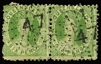 Lot 1110 [1 of 2]:Numeral Cancels on Chalons comprising Rated 3R '37', '38', '41', '81' (Type 1e), '114', '133' (Type 1e), '140', Rated 2R '14', '15', '29' x2 (Types 1b & 1f), '31', '42', '47' (on 6d pair), '48', '58', '74', '85' (Type 1e), '86' (on 2d strip of 3), '120' (tieing 2d pair to piece), '163', Rated R '23', '85' (Type N2a), '87' (Type 2a) '96' (Type 1e), '102', '131', '133' (Type N2a) '201' (Type 2a), '214'; plus unrated '87' (Type 1f), '96' (Type N2a), '201' (Type N2a); quality of strikes generally good to very fine. Nice lot. (33)
