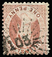Lot 793:103: (A2) fine Type 1e strike on 1d Chalon, Rated 4R.  Allocated to One Mile Creek-PO 15/4/1868; renamed One Mile PO c.1892.