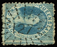 Lot 795:127: (A2) superb large-part Type 1c strike on 2d Chalon, Rated 3R.  Allocated to Coomera-PO 1/4/1869; renamed Upper Coomera PO c.1890; closed 10/1/1977.