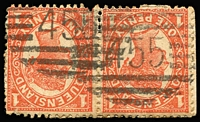 Lot 1133:455: (A2) two fine Type 2B railway cancellations on 1d Sideface pair, Rated 4R.  Allocated to Monkland