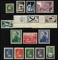 Lot 813 [2 of 4]:European selection comprising Belgium 1926 20Fr bright green Perf 14½ (Cat £120), 1952 Consecration of Basilica set, (Cat £48), France 1957-59 Air 300f to 1000f (Cat £130), Germany (East) 1951 Friendship with China (Cat £350), Netherlands 1946-47 Wilhelmina 1g to 10g (Cat £675), Portugal 1951 NATO (Cat £510), Switzerland 1936 Defence Fund (Cat £65) and 1943 Cantonal Stamp Centenary block of 12 (Cat £75), M/Ss, all fresh MUH. Total Cat £1,983. (16 + 2 M/Ss)