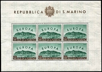 Lot 814 [2 of 5]:Europe miniature sheets selection comprising Belgium 1952 Consecration of Basilica (Cat £475), San Marino 1950 500L Europa sheetlet of 6 (Cat £330), Switzerland M/Sheets 1936 Defence Fund (Cat £65) and 1943 Cantonal Stamp Centenary block of 12, (Cat £75), 1945 Lifeboat (Cat £170), all MUH. Total Cat £1,115. (5 items)