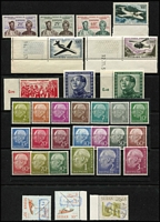 Lot 815 [2 of 4]:Foreign selection comprising Cameroun 1960 Reunification 20F to 60F, France 1957-59 Air 300F to 1000F, (Cat £130), Germany (East) 1951 Friendship with China (Cat £350), Germany (West) 1954 Heuss set to 3Dm, (Cat £350), Sudan 1990 Surcharges handstamps £5 on 20p and £10 on 10p upright and inverted opts, (Michel IV/V, Cat €1,000), Switzerland M/Sheets 1936 Defence Fund (Cat £65) and 1943 Cantonal Stamp Centenary block of 12, (Cat £75), all fresh MUH. (33 stamps + 2 M/S)
