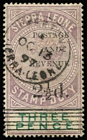 Lot 1620 [1 of 2]:1897 Postal Fiscal Surcharges 2½d on 3d Types #8 & #10 overprints SG #55-56, the former with patch of gumside aging, fine overall with crisp datestamp cancels. Cat £116.