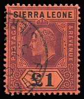 Lot 1621:1907-12 KEVII MCA £1 purple & black/red SG #111, fine used, Cat £250.