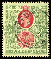 Lot 1622 [2 of 2]:1912-21 KGV Wmk MCA 5/- red & green/yellow SG #126 and 10/- carmine & yellow-green/green SG #127b (scarce shade) both with 1917 Freetown datestamps, Cat £265. (2)