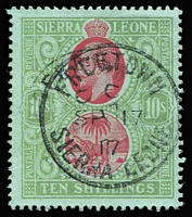 Lot 1622 [1 of 2]:1912-21 KGV Wmk MCA 5/- red & green/yellow SG #126 and 10/- carmine & yellow-green/green SG #127b (scarce shade) both with 1917 Freetown datestamps, Cat £265. (2)