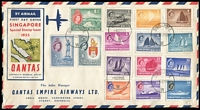 Lot 1623:1955 Pictorials 1c to $5 SG #38-52 set tied by '4SEP55' FDI cancels to special Qantas illustrated FDC, flown to Australia, bumped corners.